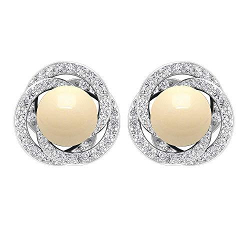 Solitario de perlas cultivadas japonesas de 5,70 quilates con halo de diamantes, pendientes de tuerca de oro, pendientes mínimos, tornillo hacia atrás marfil