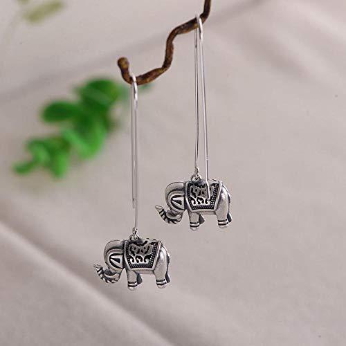 PendientesDeMujerPendienteClavosPendientesGotaLíneaDeOído,S925 Plata La Moda Femenina Estilo Étnico De Bebé Elefante Aretes Aretes De Plata Tailandés Esqueleto Pendientes Pa