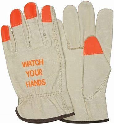Toledano Industries Hi Vis Leather Work Gloves (Watch Your Hands - Orange Tips) (Extra Large)