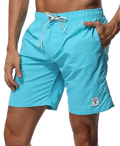"SHEKINI Men's Swim Trunks Quick Dry Slim fit Lightweight Beach Shorts with Pockets (Large (Waist:32""), Sky Blue - No Mesh Lining)"