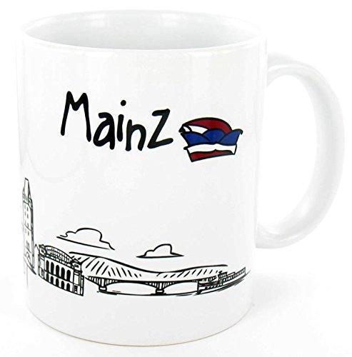 die stadtmeister Keramiktasse Skyline Mainz - als Geschenk für Meenzer & Fans der Domstadt oder als Mainz Souvenir