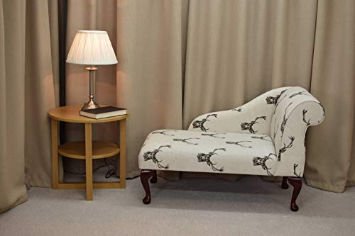 "41"" Small Classic Chaise Longue - Chair Seat - Stags Charcoal Cotton Print Fabric - Right Facing With Queen Anne Legs"
