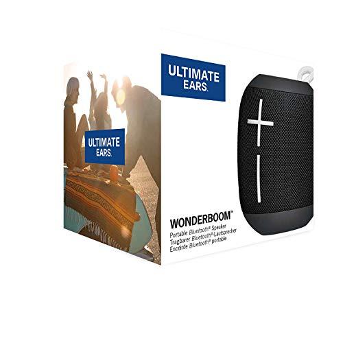 Ultimate Ears Wonderboom Altavoz Portátil Inalámbrico Bluetooth, Sonido Envolvente de 360°, Impermeable, Conexión de 2 Altavoces para Sonido Potente, Batería de 10 h, color Negro
