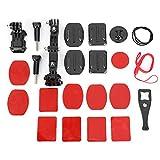 Teror Kits de cámara de acción, Juego de Soportes Ajustables multidireccionales 23 en 1 para Kits de cámara de acción G-OPRO XIAO-MI S-JCAM EKEN