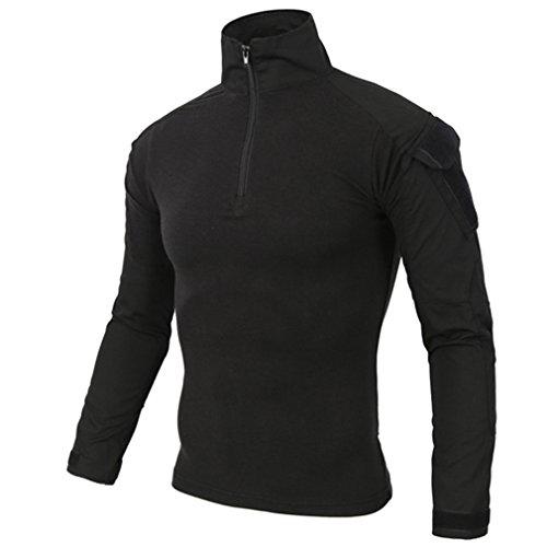 emansmoer Homme Col Montant Manches Longues 1/4 Zip Pullover Camo Armée Militaire Combat Outdoor Sport Quick Dry T-Shirt Tops (X-Large, Noir)