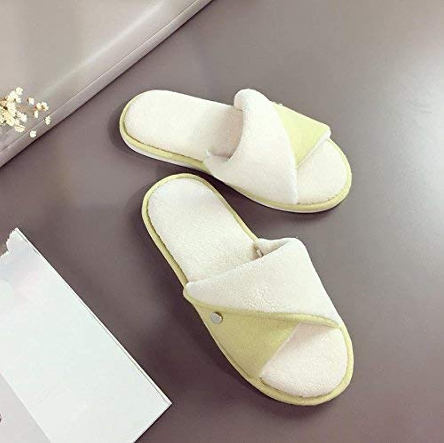 GouuoHi Womens Slippers Ladies Casual Cotton Slippers Home Interior Warm Slippers Yellow Solid color Simple Style Super Soft Plush Comfortable Slippers
