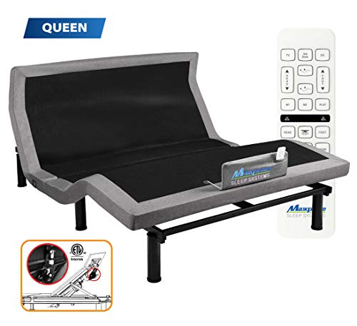 MAXXPRIME Adjustable Bed Frame with Individual Head Tilt, Electric Bed Base with Dual Massage & USB, Under Bed Nightlight, Bluetooth App Control, Wireless Remote (Queen)