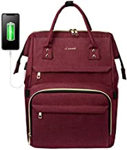Laptop Backpack Women Teacher Backpack Nurse Bags, 15.6 Inch Womens Work Backpack Purse Waterproof Anti-theft Travel Back Pack with USB Charging Port (Vine Red)