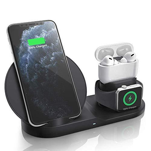 ワイヤレス充電器 AEOEO Airpods Pro/watch5(OS6)  急速充電 3 in 1 充電スタンド 最新改良版 多機能 充電ベース Apple watch スタンド Apple Watch充電器 ワイヤレスチャージャー iPhone 11 / 11 Pro / 11 Pro Max/XS/XS Max/XR/X / 8 / 8 Plus、Galaxy S10 / S10+ / S9 / S9+/Note 10 などにも対応(ブラック)