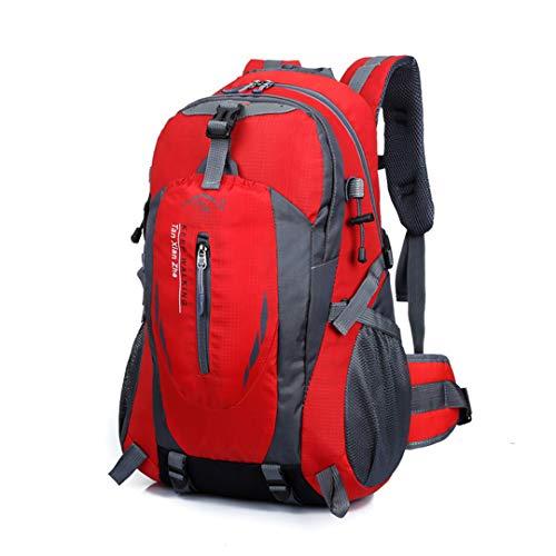 HENDTOR 40L Men Women Outdoor-Rucksack Sport Bag Camping Traveling Bags Waterproof Bag Sports Backpacks Red Color 30-40L