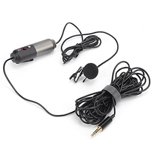 Akozon Micrófono de Solapa de Solapa, micrófono de Solapa para cámara de teléfono, micrófono omnidireccional con Clip de Solapa, Mini micrófono con Cable de Clase en línea, micrófono para teléfon