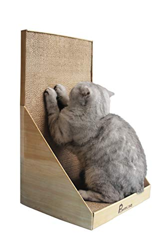 Pawmosa Cat Scratcher, Vertical Cardboard Cats Scratching Post, Lounge Bed as Furniture Protector and Home Décor Include Free Catnip (Honey)