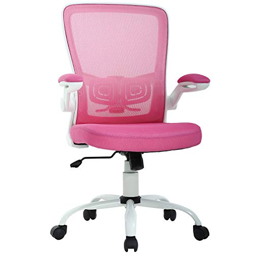 Office Chair Desk Chair Computer Chair Back Support Modern Executive Mesh Chair with Adjustable Armrest Rolling Swivel Chair for Home&Office, Pink