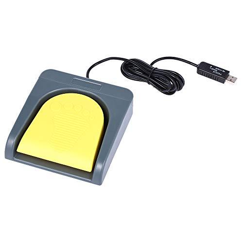Docooler PCsensor USB Einzelfußschalter Steuerung One Key Customized Computer Tastatur Action Pedal Grau mit Gelb