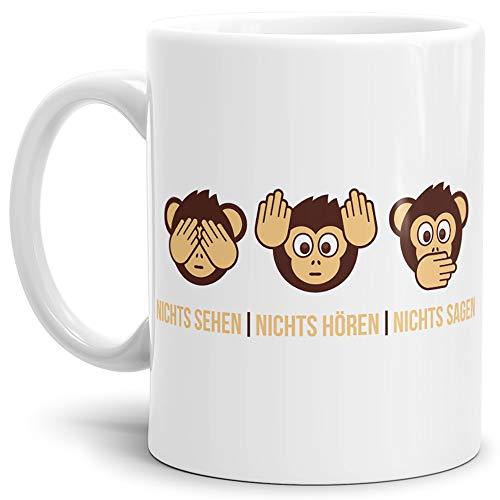Tassendruck Tasse -AFFE- mit Spruch: Nichts Sehen, Nichts Hören, Nichts Sagen - Weiss -/Smiley/Affen-Kopf/Lustig/Witzig/Spaßig/Mug/Cup