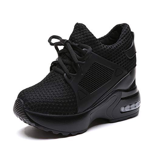 Femmes Plateforme Chaussures Compensées Maille Respirante Lacets Sneakers Décontractées en Plein Air Jogging Marche Fitness Baskets Baskets