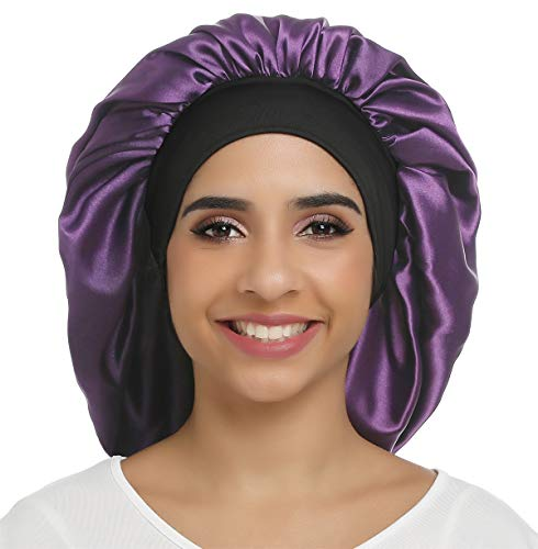 Large Silky Bonnet Satin Sleep Cap Wide Elastic Band for Women Curly Natural Long Hair (Pure Purple)