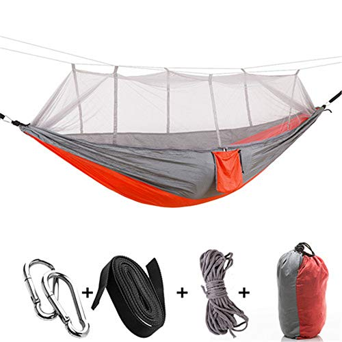 GUHSX 1-2 Person Outdoor Mosquito Net Parachute Hammock Camping Hanging Sleeping Bed Swing Portable Double Chair HamacOrange Gray