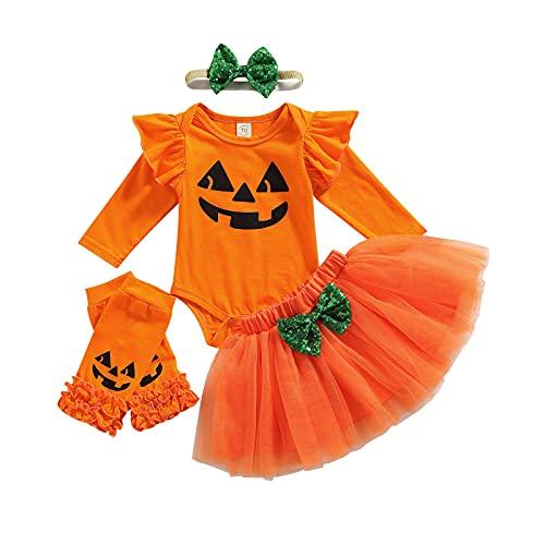 Completo 4 Pezzi Halloween Bambina Neonata Pagliaccetto Manica Volant Lunga Stampa Zucca Fantasma+Gonna Corta Svasata Pizzo+Calze Lunghe Bimba+Fascia 0-24 Mesi (Arancia, 6-12 Mesi)