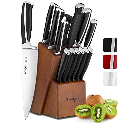Emojoy Messerblock, Messerset,15-TLG Messer Set, Schwarz Küchenmesser Set mit Holz Block, Kochmesser Set