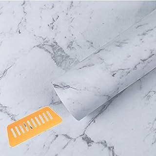 GLEOOD 壁紙 カッティングシート 防水 シール はがせる 45cmx10m 道具 付 (大理石 ホワイト)