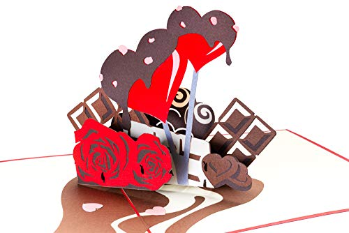 PrimePopUp | Liebeskarte | Herzen mit Schokolade & Rosen | 3D Pop Up Karte | besondere Hochzeitskarte | Geschenk für Freundin Freund | Geburtstagskarte | Ich liebe Dich Karte für Sie & Ihn