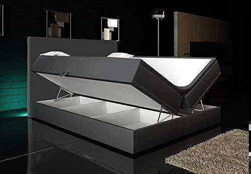 Wohnen-Luxus Boxspringbett Grau 160x200 inkl. 2 Bettkasten Hotelbett Bett LED Polsterbett Rio Lift
