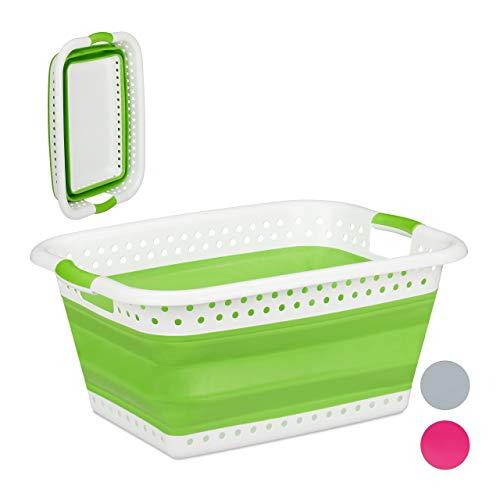 Relaxdays Faltbarer Wäschekorb, Griffe, Kunststoff & Silikon, platzsparende Wäschewanne, HBT 27x61x45,5 cm, hellgrün