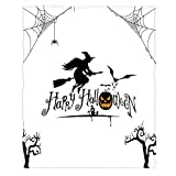 WONDERTIFY Halloween Throw Blanket Broomstick Witch Bat Baby Swaddle Blanket Cozy, Warm and Lightweight 30'X40' Black