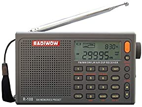 RADIWOW R-108 FM Stereo/LW/MW/SW/AIR Band/DSP Full Band Portable Radio with Headphones Jack and Antenna Jack, Sleep Timer and Alarm Clock, 500 Memories preset Stations (100 preset for Each Band)