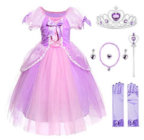 JerrisApparel Mädchen Prinzessin Kostüm Rapunzel Cosplay Party Verrücktes Kleid (6 Jahre, Lila mit Zubehör)