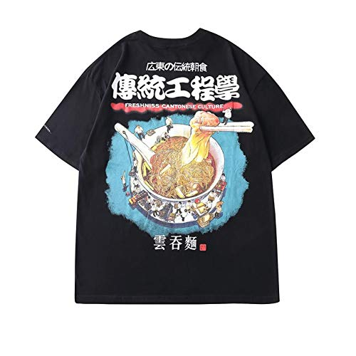 DMUEZW Chiński makaron nadruk Harajuku hip-hop T-shirt męski odzież uliczna koszulka z krótkim rękawem koszulka oversize topy koszulki