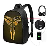 Peter Ko-be Br-yant Theme Fashionable and Durable for Men and Women USB Backpack 17 in