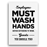 4x6 Inch Acrylic Employees Must Wash Hands Sign Humorous Funny Guests You Should, Too ~ Restaurant Bar Cafe Bakery Modern Elegant Farmhouse Rustic Wall Art Decor Picture Plaque Unique Tasteful