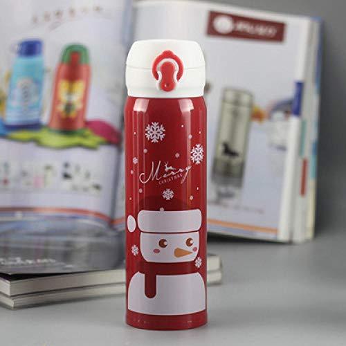 LANKOULI Cartoon Weihnachten Edelstahl Vakuumflaschen Kinder Vakuum Wasserbecher Deckel Thermoskanne Flasche Cafe Tasse-500 ml_Schneemann