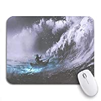 Mabby マウスマット - 240 x 200mm,Man Rowing Magic Boat in Stormy Sea Rogue Waves,for Office and Gaming,Computer Mousepad Non-Slip Rubber Base