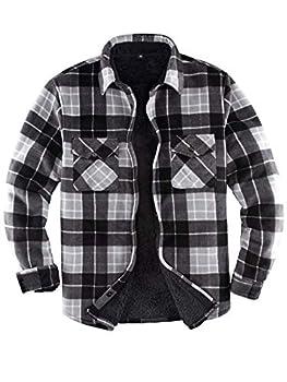 Men s Warm Sherpa Lined Fleece Plaid Flannel Shirt Jacket All Sherpa Fleece Lined   Black/Grey Large