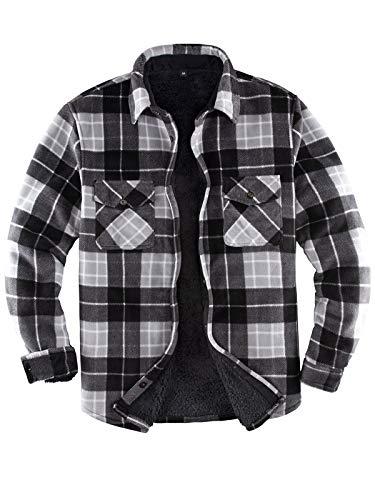Men's Warm Sherpa Lined Fleece Plaid Flannel Shirt Jacket(All Sherpa Fleece Lined) (Black/Grey, X-Large)