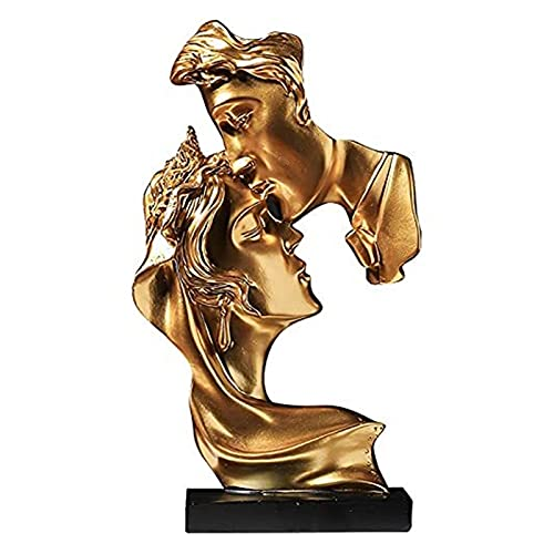 Jarrones Estatua de Pareja de Beso de Oro Las estatuas de Amante de Besos Escultura Artesanal de Arte Abstracto Hecho a Mano Regalo de Boda Conveniente para la decoración del hogar de la habitación