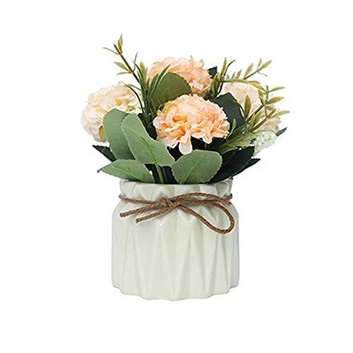 HONIC Künstliche Bonsai Blumen mit Vase Kürbis-Fälschungs-Rose Bonsai künstliche Rosen-Silk Blumen-Hausgarten-Dekor Valentinstag: O