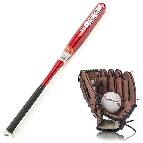 IDE Con Principal Balllittle League Set Kit de Baseball Junior Multicolor 32' Baseball Bat Set en Bois, Ball & Gant de Baseball, Baseball Ensemble Mixte Adulte,Rouge,BRN