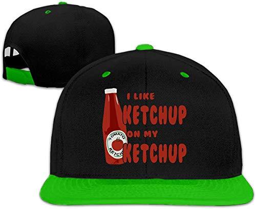 Unisex I Like Ketchup On My Ketchup Stylish Adjustable Flat Brim Trucker Hat Baseball Caps Mens Womens,Green,One Size