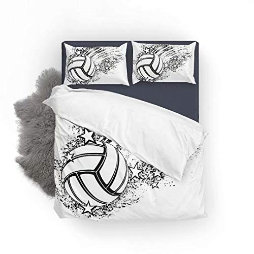 Volleyball Flying Through Grunge Splatter and Stars Ultra Soft Bed Set Lightweight Brushed Microfiber Fabric Bedroom Decor Best Gift for Bedroom -1Duvet Cover + 1Pillowcase, Twin Size