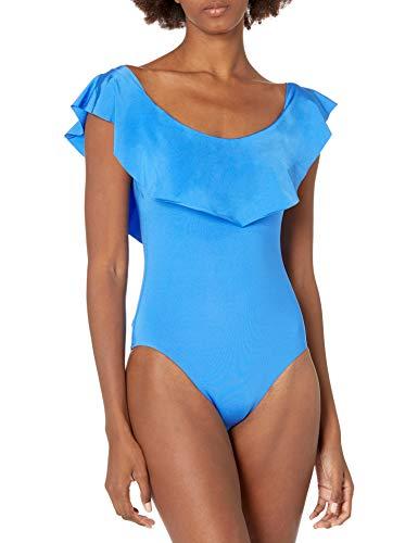 Trina Turk Women's Standard Getaway Solids Off-The-Shoulder Bandeau One Piece Swimsuit, Ocean, 4