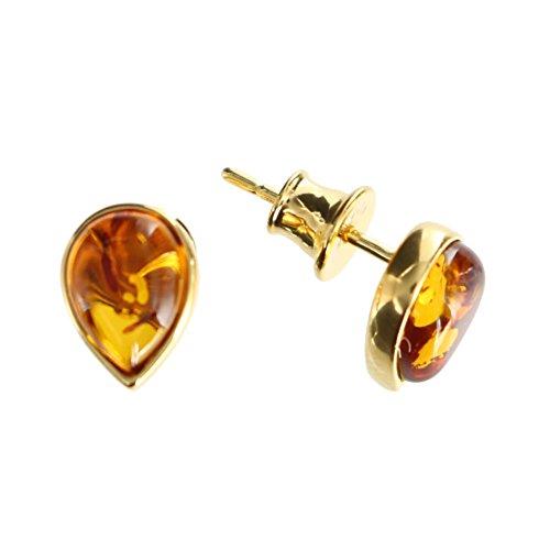 Tropfenförmige Ohrringe mit Bernstein von Artisana-Schmuck, kleine Ohrstecker Fassung 925/000 Sterling Silber vergoldet