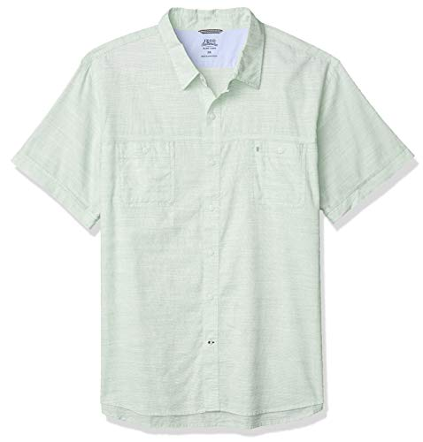 IZOD Men's Saltwater Dockside Chambray Short Sleeve Button Down Solid Shirt, Meadow, XX-Large