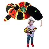 EcoBuddiez Sssnakes - Serpiente de Coral de Deluxebase. Serpiente Peluche de 140cm. Peluches Grandes y Suaves Hechos de Botellas de plástico Reciclado. Perfecto Regalo ecológico para niños.