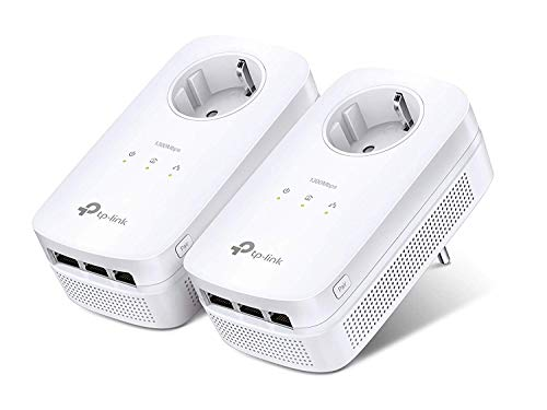 TP-Link TL-PA8030P KIT 1300Mbit/s 6x Gigabit Ports Passthrough Steckdose Powerline Adapter Set(2*2-MIMO, Plug & Play, energiesparend, kompatibel zu allen gängigen Powerline Adaptern) weiß