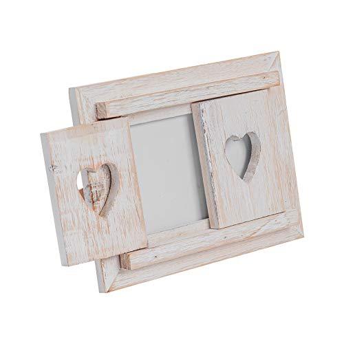 Nicola Spring Cornice da Tavolo in Legno Bianco - con Ante a Cuore - Formato Foto 15 x 10 cm