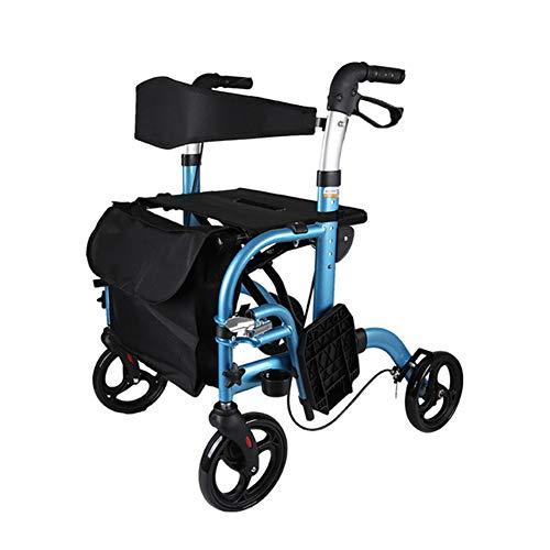 GEHHILFEAID Rollator inklapbaar aluminium lichtgewicht rollator stabiel opvouwbare hoogte verstelbaar groot zitvlak loophulp trolley